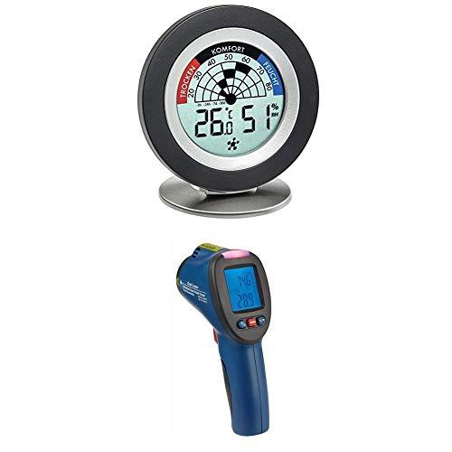 TFA Dostmann Cosy Radar digitales Thermo-Hygrometer, 30.5043.01, ideal zur Schimmelvermeidung + Infrarot-Thermometer mit Taupunktermittlungund Doppellaser, Blau, 8x6x18 cm