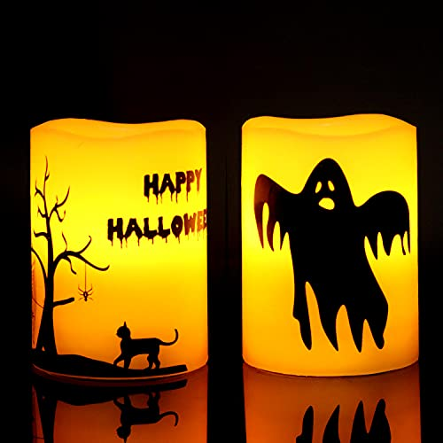 GenSwin Halloween Ghost Cat Flameless Candles Flickering Battery Operated with 6 Hours Timer, Real Wax Pillar LED Candles Warm Light Decor Gift(Pack of 2, D3