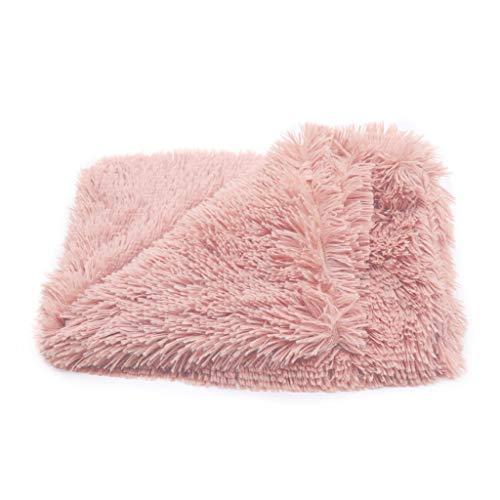 R-WEICHONG Haustierdecke, für Hunde und Katzen, Flauschige Fleece-Decke, weich, warm, doppeltes Plüschfell, Rose, M