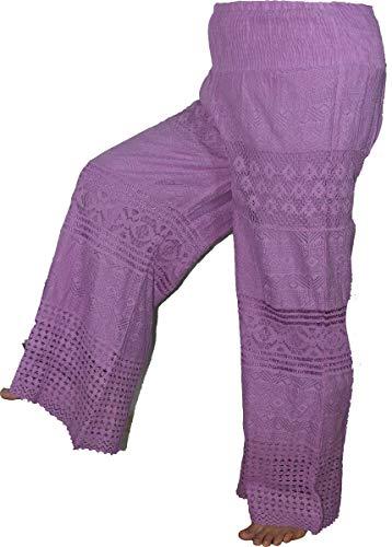 Highwaypay Women's Yoga Boho Indian Gypsy Hippie 70's Crochet Pants Ruffle Bell Bottom Baggy Wide Leg Pants 1945 Purple
