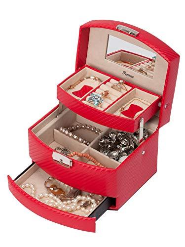 IsmatDecor Caja Joyero Rojo I 3 Niveles, Espejo y Cerradura S-501D-6R