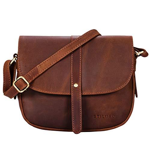 STILORD 'Kira' Umhängetasche Frauen Leder Vintage kleine Handtasche zum Ausgehen Klassische Abendtasche Partytasche Freizeittasche Echtleder, Farbe:Havanna - braun