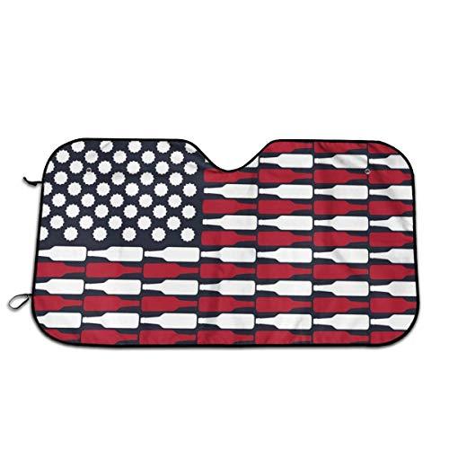 Amerikaanse vlag bier universele fit auto zonnekap - houd uw voertuig koel. UV zon en warmte reflector
