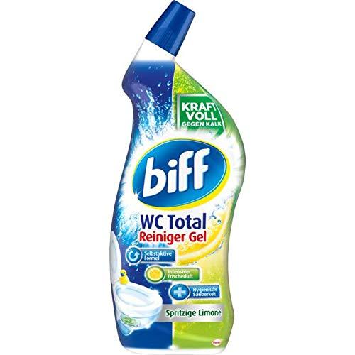 Biff WC Total Reiniger Gel Spritzige Limone, WC-Reiniger entfernt Kalk und Urinstein, 1 x 750 ml