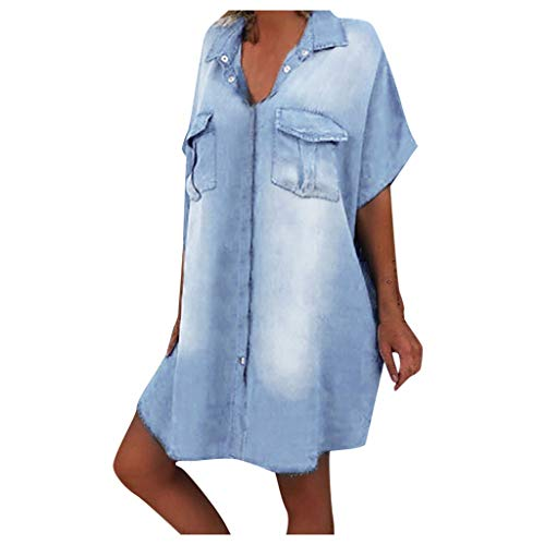YinGTralAsymetrische Jeanskleider in Übergröße für Damen Batwing Kurzarm-Knielanges Kleid