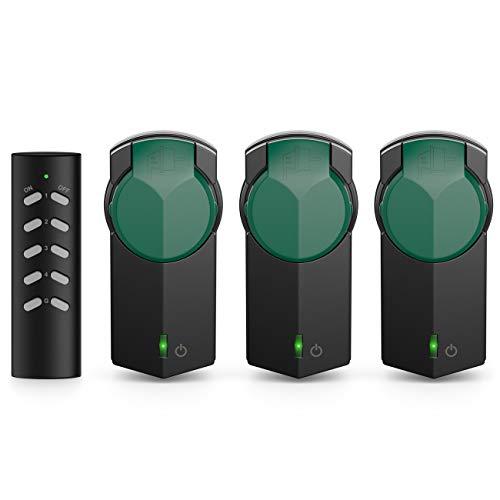 deleyCON Outdoor Funksteckdosen Set 3+1 für Außenbereich IP44 Garten Terrasse Balkon Garage Kindersicherung 4-Kanal Fernbedienung schaltbare Steckdosen