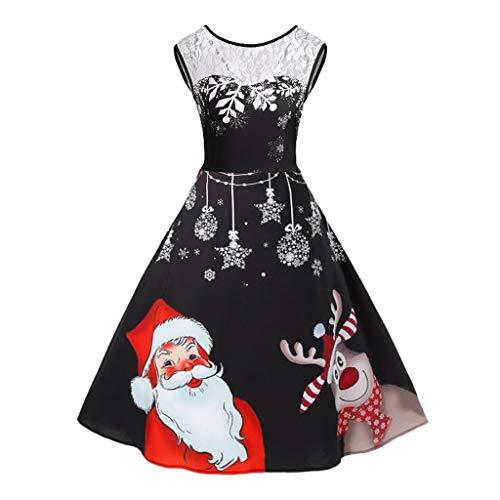 Luotuo Damen Weihnachtskleider, Frauen 1950er Klassisch Vintage Rockabilly Kleid Weihnachtsdruck Abendkleider Knielang Swing Winter Retro Slim Faltenrock Cocktailkleid Partykleid