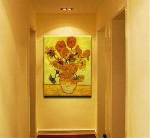 CHASOE .Licy Jenny Art Van Gogh Berühmte Gemälde Sonnenblume Handgemälde Kopieren Ölgemälde Rahmen 24X36