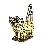 Tokira Lámpara de Mesa Tiffany Animal, Precioso Gato Lámpara de Noche, Hecho a Mano Vidrio Multicolor Luz de Noche Para Habitación Infantil, Luces de Decoración de Sala de Estar, Viene 2 Bombillas LED