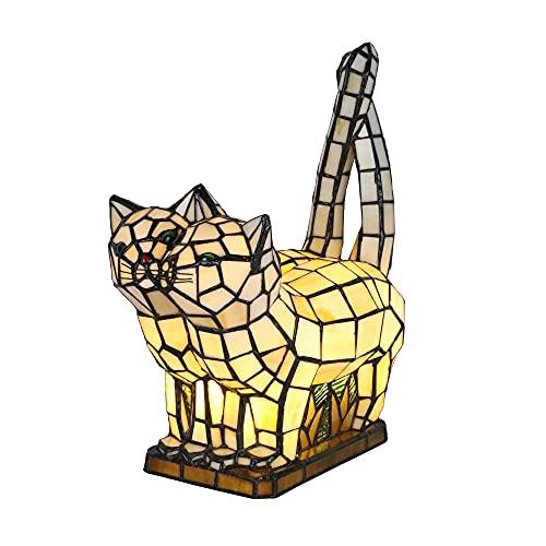 Tokira Lámpara de Mesa Tiffany Animal, Precioso Gato Lámpara de Noche, Hecho a Mano Vidrio Multicolor Luz de Noche Para Habitación Infantil, Luces de Decoración de Sala de Estar, Viene 2 Bombi