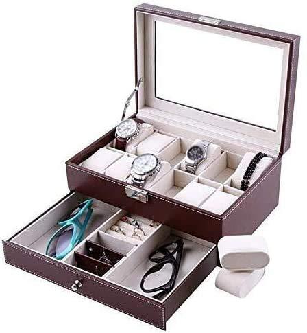 Gymqian 2-Layer Men's/Women's Watch Box Glass Cover 20-Slot Jewelry Display Storage Box Bracelet Tray Watch Exquisite