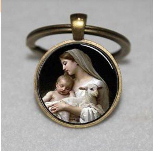 Llavero de Belén, Virgen María Jesús y Lamba, llavero espiritual, llavero único, regalo personalizado, llavero de regalo diario.