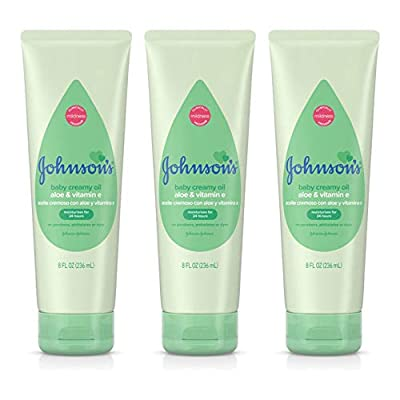 Johnson's Baby Creamy Oil with Aloe, Vitamin E, Moisturizing Body Lotion for Delicate Skin Hypoallergenic and Free of Parabens Phthalates and Dyes, 8 Fl Oz (Pack of 3) by Darisi, Inc