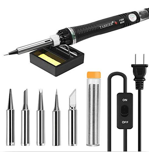 Tabiger Soldering Iron Kit Electronics with Adjustable Temperature and ON/OFF Switch, 60W/110V Soldering Tool with 5PCS Soldering tips, solder wire, Soldering Iron Stand with sponge for Repair Usage