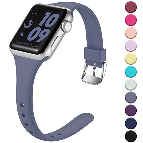 Laffav Slim Band Compatible with Apple Watch 40mm 38mm for Women Men, Soft Silicone Narrow Thin Sport Replacement Strap for iWatch Series 5 4 3 2 1 (Blue Gray, 38mm/40mm M/L)