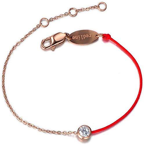 CKAWM Pulsera Pulseras clásicas de Cristal de Titanio y Acero, brazaletes para Mujer, Pulsera de eslabones de Cadena de Cuerda roja, joyería