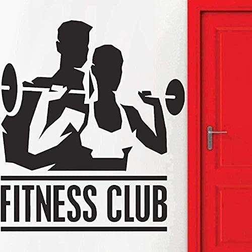 Pegatinas de pared decoración de pared de vinilo decoración del hogar club de fitness hombres y mujeres culturismo autoadhesivo gym art 65X57cm