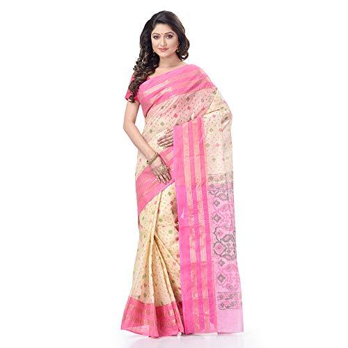 dB DESH BIDESH Women's Tant Cotton Saree Without Blouse Piece (DB271220JAMPRINT3_Pink)