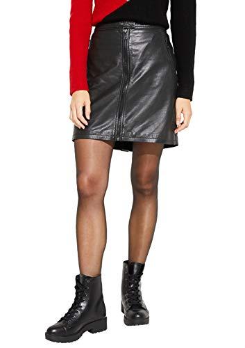 comma Casual Identity Damen Kurzer Echtlederrock mit Zipperdetails Black 38