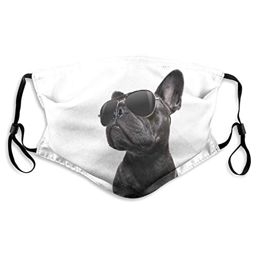 Cool Trendy Posing French Bulldog Sunglasses Dog Dust Face Cover Mask Washable Mouth Guard with Replaceable Filter Activated Carbon Soft Breathable Outdoor