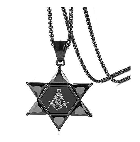 Hexágono Estrella de David Colgante for Mujeres de los Hombres Collar Negro Piedras de mampostería joyería Informal (Color : 60cm, Size : Black)