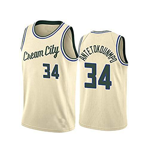 YCQQ Bucks #34 Giannis Antetokounmpo Camiseta de la Nueva Temporada 2021, Camiseta de Verano para Hombre, Adecuada para Hombres, Mujeres y Niños.(Size:S,Color:G1)
