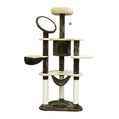 Rascador para Gatos 153x65x50 cm Arbol para Arañar Poste Centro De Actividades Gato Color Marron