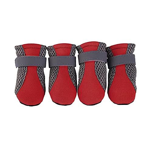 Funda para telfono mvil sin Slip Dog Shoes Reflective Pet Boots Shoes Breathable Mesh Socks Spring Summer Dog Anti Slip Waterproof Shoes-Red-M
