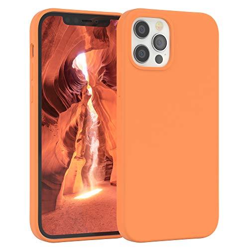 EAZY CASE Premium Silikon Handyhülle kompatibel mit iPhone 12/12 Pro, Slimcover mit Kameraschutz & Innenfutter, Silikonhülle, Schutzhülle, Bumper, Handy Hülle, Hülle, Softcase, Orange