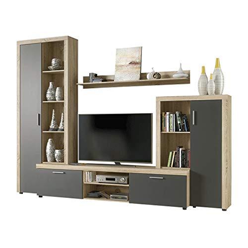 HomeSouth - Mueble de Comedor, Salon Modelo Nobel, Acabado Color Cambria y Grafito, Medidas: 263 x 202 x 40 cm Fondo.