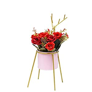 Unionm Eustoma Artificial Flowers Pot Bonsai Spring Summer Faux Flower in Potted Floral Arrangement Potted Plants for Wedding Home Office Decoration Gift for Lover Wife Women (3#Red)