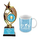 Tuelip World's Best Dad Printed Ceramic Coffee Mug with Trophy I Fathers Day Gift I Birthday Gift.