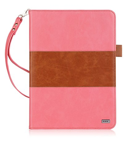 WWW Galaxy Tab S3 9.7 Case, Premium PU Leather Case Protective Cover with Card Slots, Note Holder, Quality Hand Strap for Galaxy Tab S3 9.7 Magenta & Brown