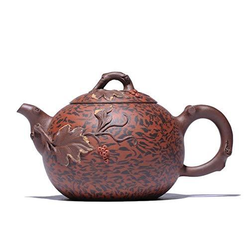 Tea cup Purple Clay Teapot Handmade Grapes CRTTRC Teapot (Color : Purple mud, Size : One Size)