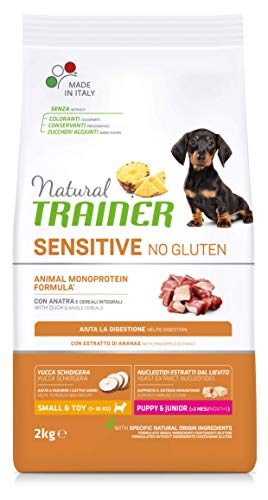 Natural Trainer Sensitive No Gluten - Cibo per Cani Small&Toy Puppy&Junior con Anatra e Cereali Integrali 2kg