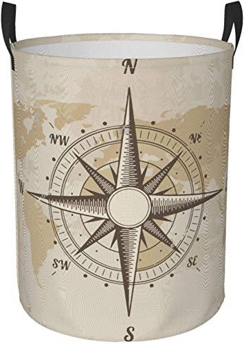 Cestino rotondo per bucato con bussola nautica vintage mappa del vecchio mondo