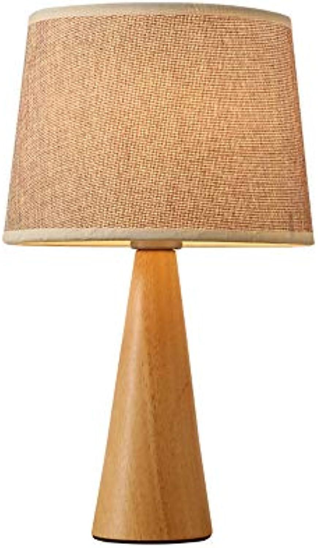 Massivholz Tischlampe Kreative LED Schreibtischlampe Moderne Stoff Energiesparlampe Persnlichkeit Augenschutz Leselampe Schlafzimmer Nacht (Farbe   B, Design   Button switch)