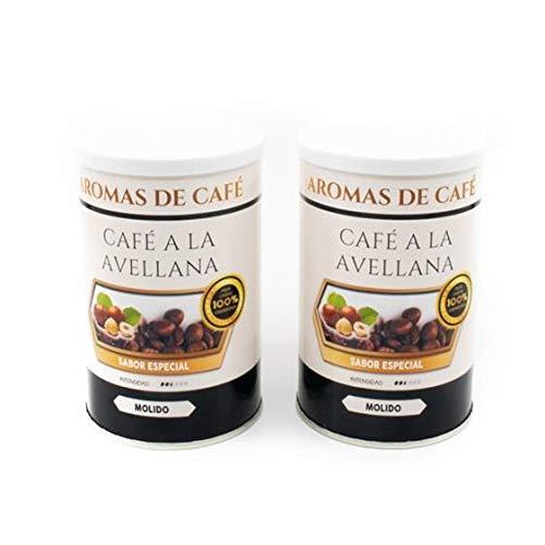 Pack de 2 - Café de Avellana 100% Arabica Molido - Café Molido Sabor Avellana - Intensidad Media Suave e Intenso - 2x100 gr
