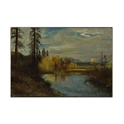 CCZWVH Albert Bierstadt  Outlet en Lake Tahoe  Lienzo Pintura Ilustraciones Impresiones Cartel Imagen Decoración de la Pared Decoración de la casa Moderna 20x30 Pulgadas Sin Marco