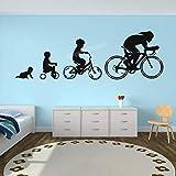 JHGJHGF Creative vélo Stickers muraux Vinyle Autocollants vélo révolution vélo Stickers muraux Enfants Sport garçons Adolescents Chambre décoration