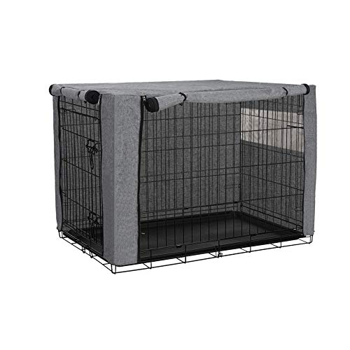 """Dog Crate Cover, Ventilated Pet Keneel Cover, Durable Double Door Polyester Dog Crate Cloth Cover, Air Flow/Universal Fit for Wire Dog Crate (M:37""""(L) x 24"""" (W) x 25""""(H), Grey)"""