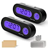 MEANLIN MEASURE Digital Display of Vehicle Temperature and time, LCD Backlight, Dual Conversion Mode, Temperature Dashboard Clock(Pack of 2)