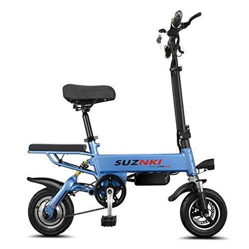 Suyanouz 10Inch Elektrisches Fahrrad Tragbare Folding Elektro-Fahrrad Mini Adult E Bike Powered MotorräDer Zwei-Scheibenbremsen Elektro-Fahrrad, Blau, A