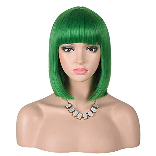 Short Straight Bob Wigs With Bangs Full Heat Resistant Hair Wig for Women's Cosplay (Green)