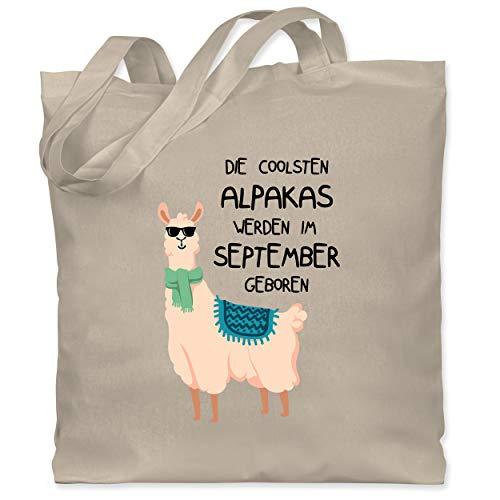 Geburtstagsgeschenk Geburtstag - Die coolsten Alpakas werden im September geboren Sonnenbrille - Unisize - Naturweiß - die coolsten alpakas werden im september - WM101 - Stoffbeutel aus Baumwolle