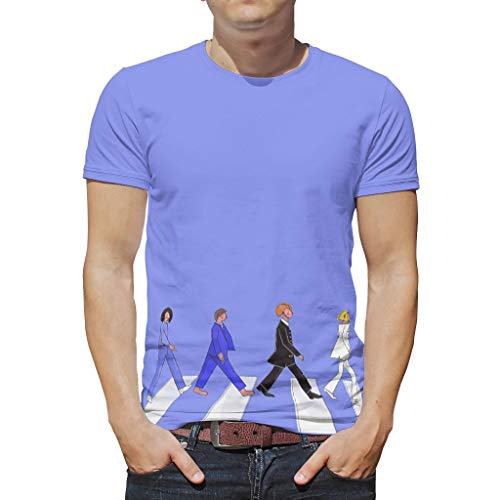 O5KFD&8 Mann Herren T.-Shirt Teenie Shirt Abbey-Road-Killers Personalisieren - 4 Männer überqueren Digitaldruck Polyester Tragen White l