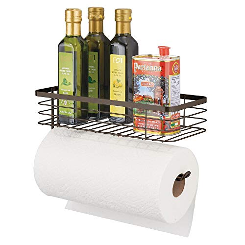 mDesign Paper Towel Holder with Spice Rack and MultiPurpose Shelf  Wall Mount Storage Organizer for Kitchen Pantry Laundry Garage  Durable Metal Wire Design  Bronze
