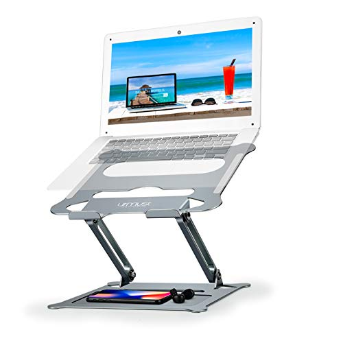 Urmust Laptop Notebook Stand Holder, Ergonomic Adjustable Ultrabook Stand Riser Portable with Mouse Pad Compatible with MacBook Air Pro, Dell, HP, Lenovo Light Weight Aluminum Up to 15.6'(Bluish Gray)