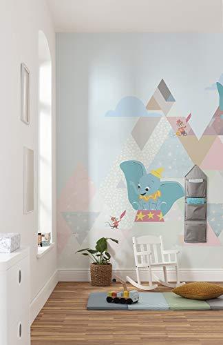 Komar Disney Vlies Fototapete Dumbo flying elephant | Größe: 300 x 280 cm (Breite x Höhe), Bahnbreite 50 cm | Tapete, Wandbild, Dekoration, Wandbelag, Kinderzimmer, Schlafzimmer | DX6-011, bunt