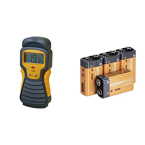 Brennenstuhl Feuchtigkeits-Detector MD (Feuchtigkeitsmessgerät/Feuchtigkeitsmesser für Holz oder Baustoffen, mit LCD-Display) anthrazit/gelb & AmazonBasics Everyday Alkalibatterien, 9V, 4 Stück